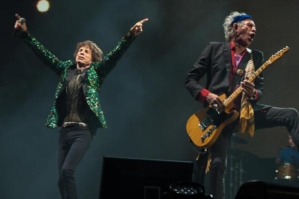 Sir Mick Jagger and Keith Richards of The Rolling Stones perform on the Pyramid Stage during day three of the 2013 Glastonbury Festival at Worthy Farm.