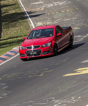 Holden's VF ute on its way to setting a Nurburgring track record.