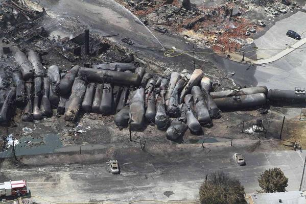 An aerial view of burnt train cars after a train derailment and explosion in Lac-Megantic, Quebec July 8, 2013, in this picture provided by the Transportation Safety Board of Canada.