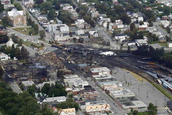 A aerial view of the wreckage of the crude oil train that exploded after crashing in Lac Megantic, Quebec.