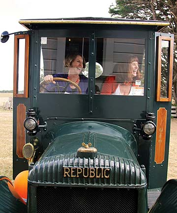 Sisters Jennifer Somervell (left) and Margery Fern have combined to produce the children's book based around a 1921 Model 10 Republic truck which used to be on their family farm.