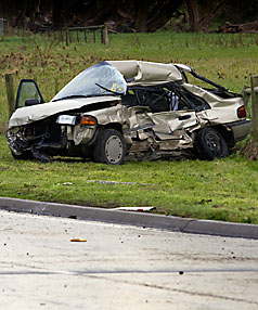 Fatal crash scene near Kaiapoi