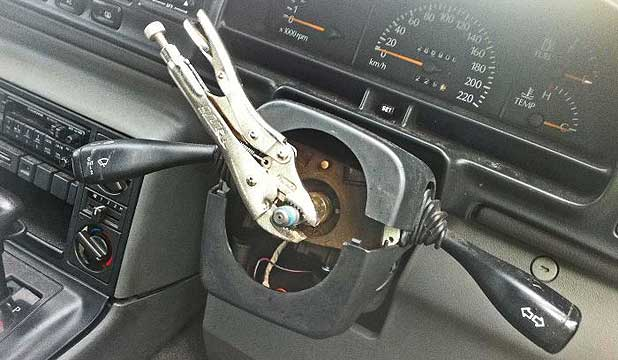 Pliers used as steering wheel.
