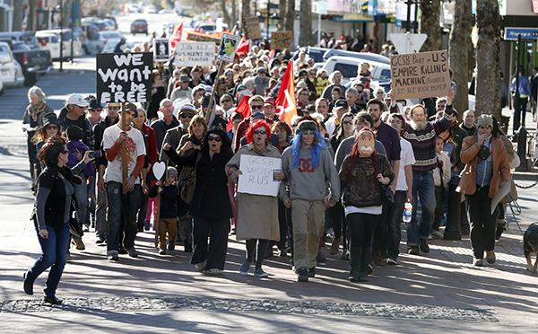 Protesters in Nelson march against the GCSB spying bill.