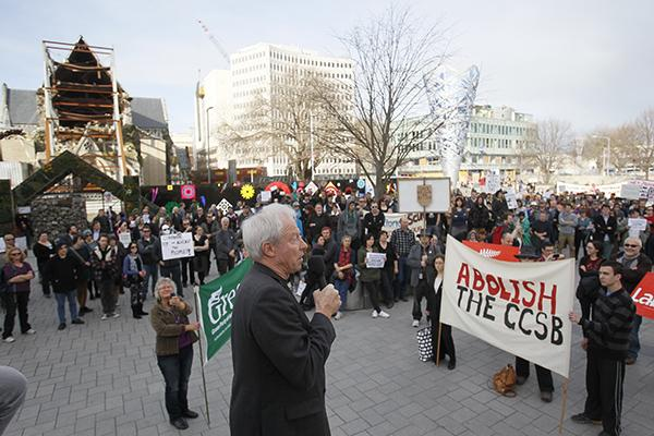 Green Party's Steffan Browning speaks at the march against the GCSB spying bill in Christchurch.