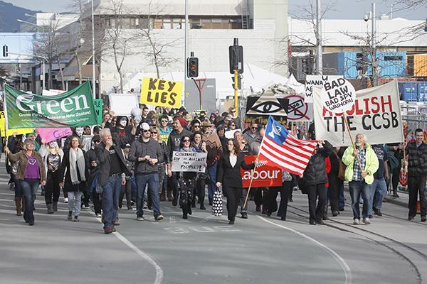 Protesters in Christchurch march against the GCSB spying bill.