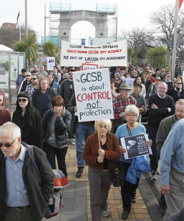 Protesters in Christchurch march against the GSCB spying bill.