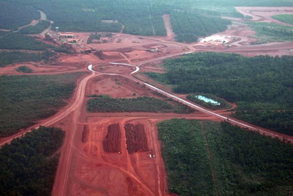 Mining operations can be seen at the Rio Tinto alumina refinery and bauxite mine in Gove, also known as Nhulunbuy, located 650 kilometres east of Darwin in Australia's Northern Territory.