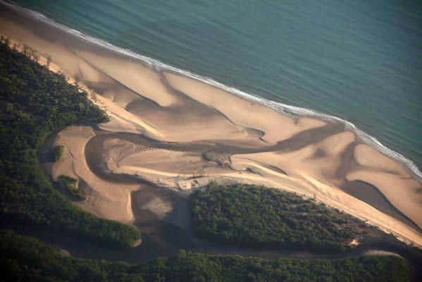 A beach can be seen along the coastline of Arnhem Land, east of the city of Darwin in Australia's Northern Territory.