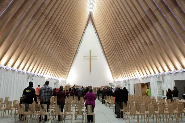 Cardboard Cathedral interior