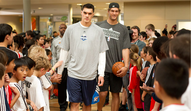 Steven Adams and Brook Lopez