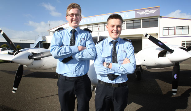 Southern Wings Aviation College students Brayden Lawson, 19, left, and Julian Remfry, 21