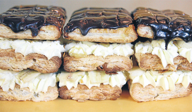 Banoffee chocolate and caramel mille-feuilles