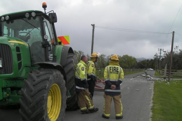 Tractor takes out power pole, Masterton