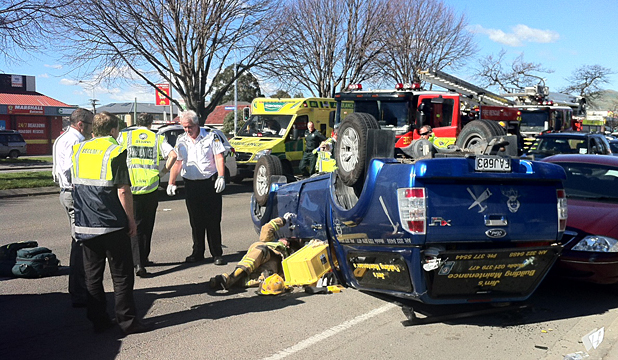 Car flips in Christchurch