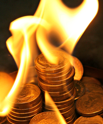Debt, flames, money, coins