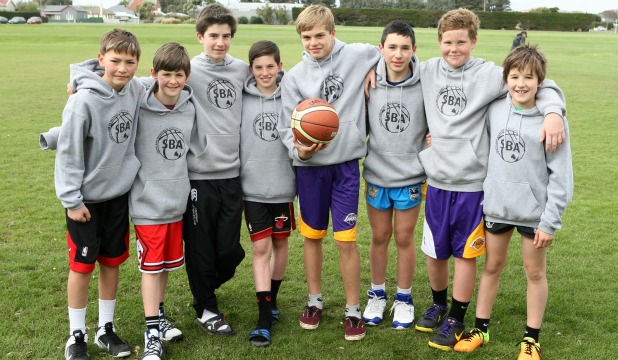 The Southland boys' under 13 basketball team at a training session