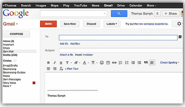 The old Gmail compose pane