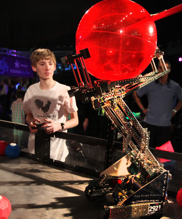 Robot Bot wars competition shown here with 16 year old former world champ George Gillard.