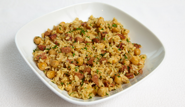 Chickpea, chorizo and brown rice pilaf | Stuff.co.nz