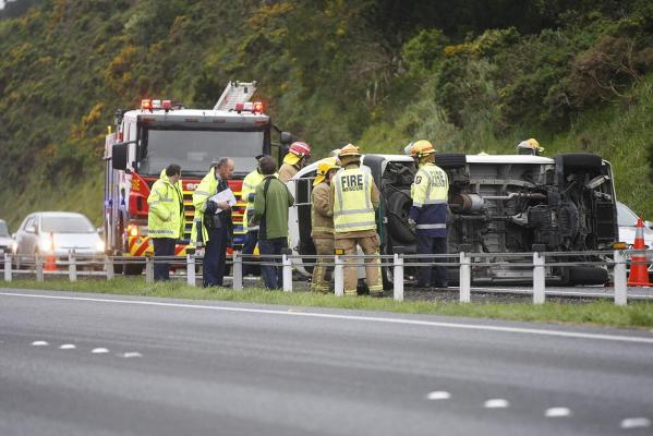 TOPPLED: A van was blown over on the southbound lane of State Highway 1 near Churton Park, Wellington.