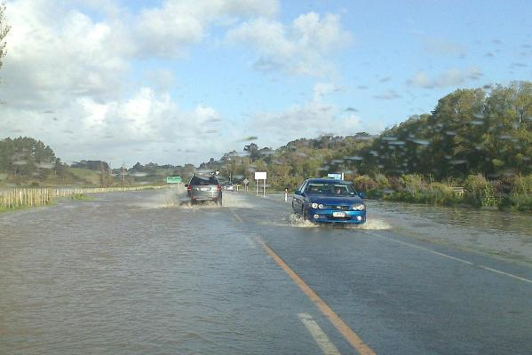 Flooding on State Highway 3 heading southeast out of Whanganui, near Marybank.