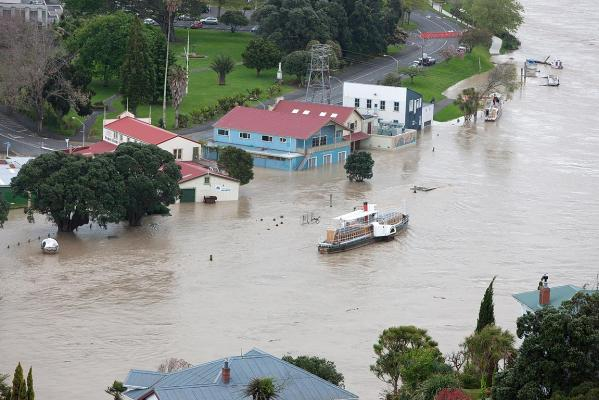 The Whanganui River burst its banks overnight.