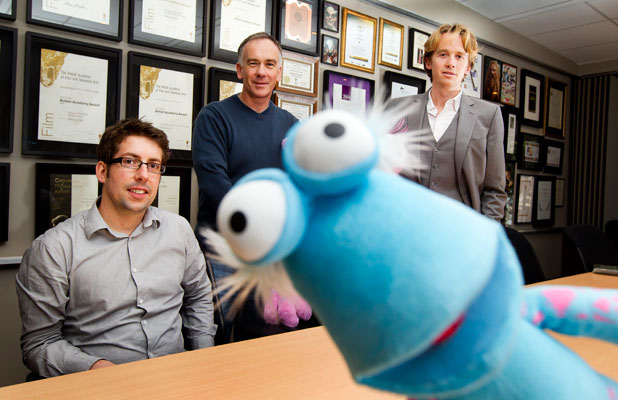 The WotWots director Theo Baynton, Pukeko Pictures chief executive Andrew Smith and Grow Wellington's Sven Pannell, with SpottyWot.