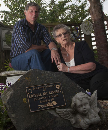 Malcolm Barnett and his wife Sharlene in the memorial garden for Krystal
