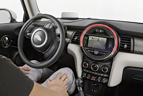 Inside the new Mini Cooper.