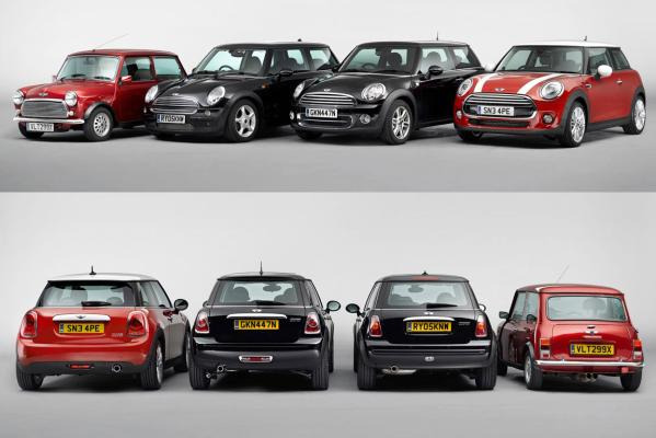 The new Mini and its predecessors.
