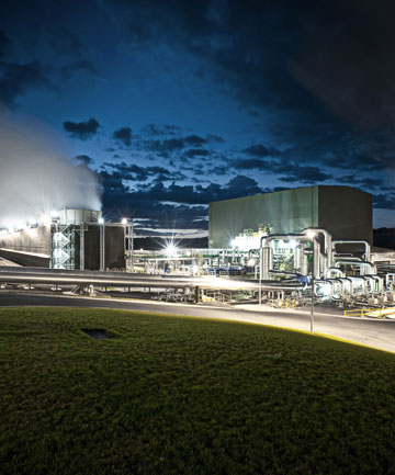 Mighty River Power's Nga Awa Purua geothermal station at night.