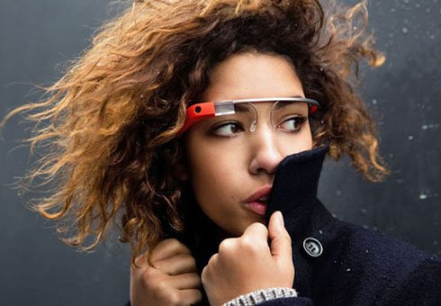 Woman wears Google Glass.