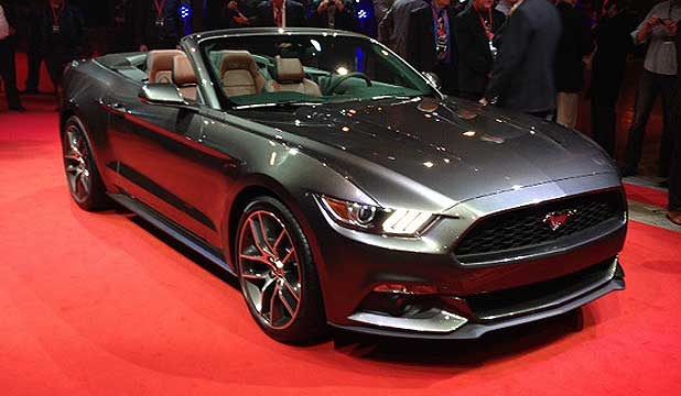 The 2015 Ford Mustang convertible is unveiled in Sydney.