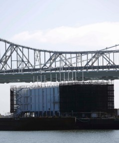 UNDER WRAPS: Google's mystery barge is seen at Pier 1 at Treasure Island in San Francisco.