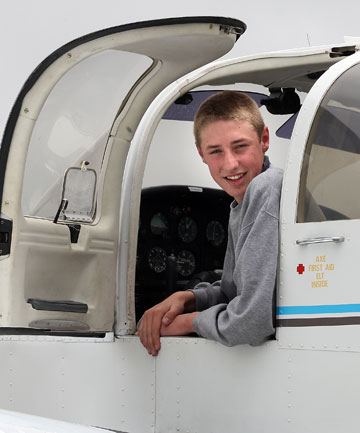 Tom Thorne makes his first solo flight on his 16th birthday