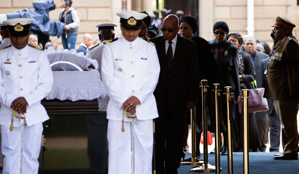 Nelson Mandela's coffin in state