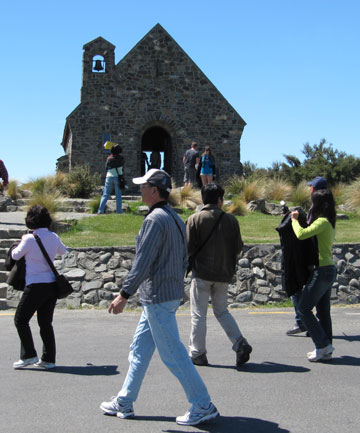 Tourists at Lake Tekapo