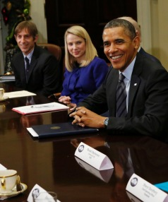 HIGH STAKES: Zynga chairman Mark Pincus, Yahoo chief executive Marissa Mayer and US President Barack Obama next to  AT&T's Randall Stephenson and Facebook's Sheryl Sandberg.