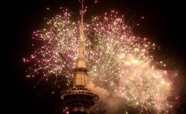 For the first time fireworks were packed on to three tiers of the Sky Tower for Auckland's traditional New Year's Eve display.