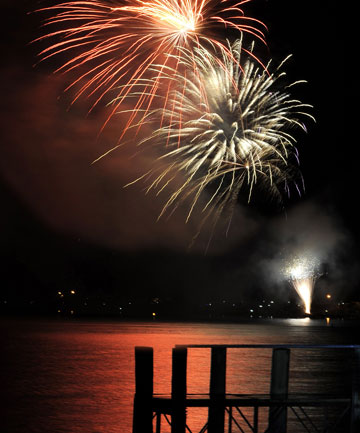 Fireworks light up the sky over Lake Te Anau