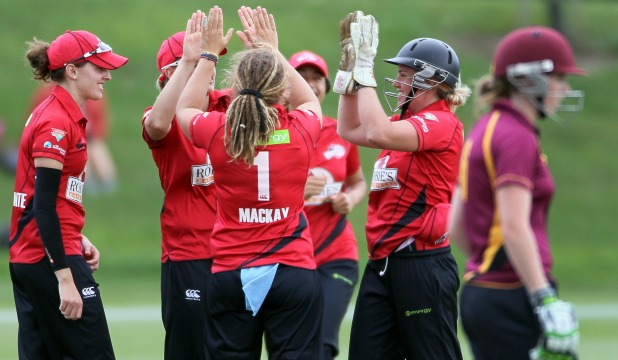 Canterbury celebrate the dismissal of Northern Districts' Anna Peterson during their national Twenty20 cricket match in Rangiora yesterday.