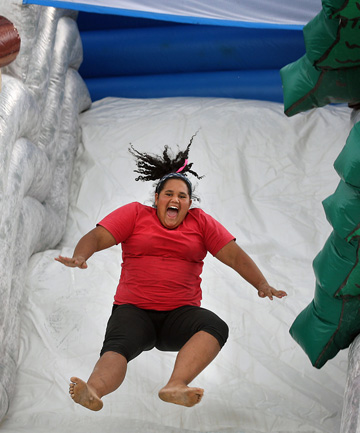 Giant inflatable slide at the Ruataniwha Holiday Park