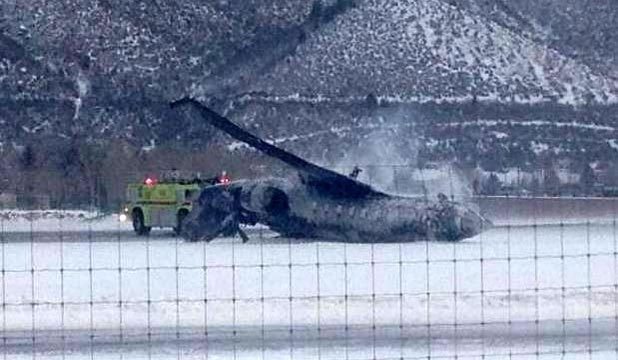A photo on Twitter appearing to show the crashed jet at Aspen airport.