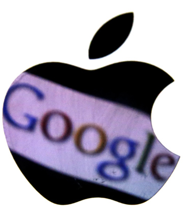 A Google trademark is reflected in an Apple logo.