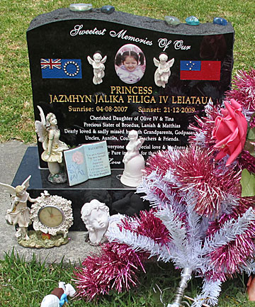 Two-year-old Jazmhyn Leiataua's headstone