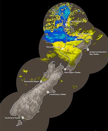 DOWNPOURS: Rain covers the top of the North Island in this MetService rain radar image from 9.13am.