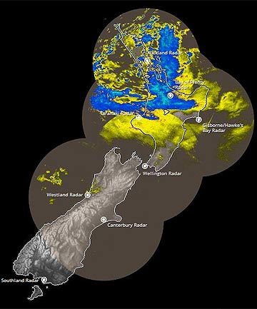 BAD WEATHER: Rain covers the top of the North Island in this MetService rain radar image from 11.43am.