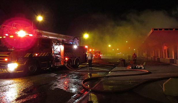 BLAZE: Witnesses described a ''wall of flames'' emerging from the back of the row of