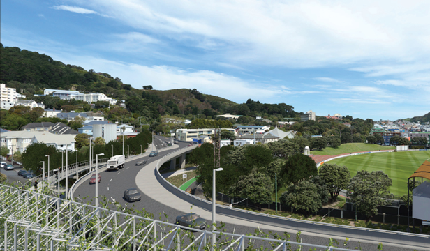 An artist's impression of the proposed Basin Reserve flyover, looking towards the Mt Victoria tunnel.